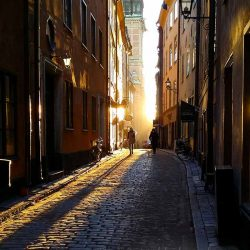Sunset in Old Town Stockholm