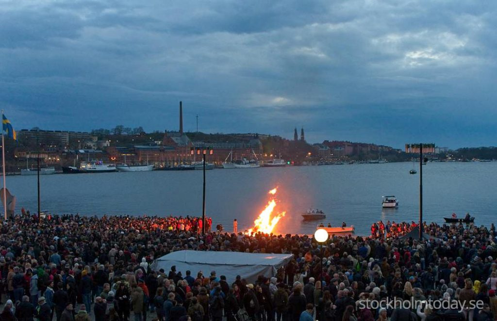 Stockholm today valborg valpurgis night fire celebration